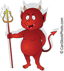 Cute Red Devil Character - Vector Illustration Of Cute Red...