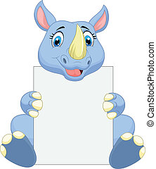 Cute rhino cartoon holding blank si - Vector illustration of...