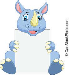 Cute rhino cartoon holding blank si - Vector illustration of...