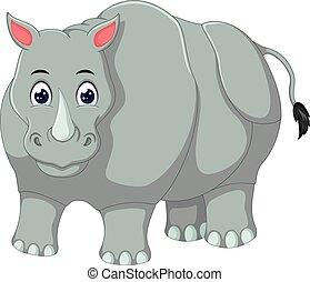 cute rhino cartoon posing with smiling