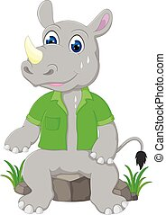cute rhino cartoon sitting sweating on stone
