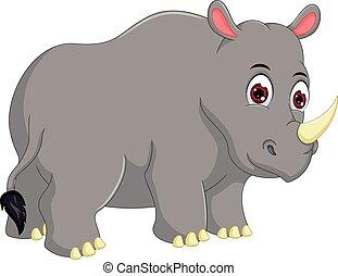 cute rhino cartoon standing with smile