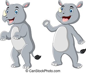 Cute rhino cartoon waving hand