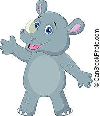 Cute rhino cartoon waving