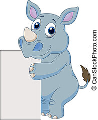 Cute rhino cartoon with blank sign