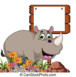 cute rhino cartoonwith board