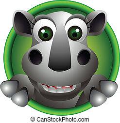 cute rhino head cartoon