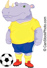 cute rhino soccer cartoon