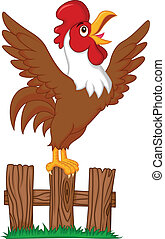 Cute rooster cartoon crowing on the