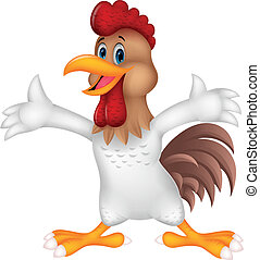 Cute rooster cartoon presenting - Vector illustration of...
