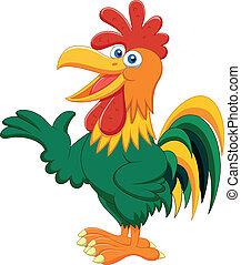 Cute rooster cartoon presenting