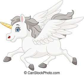 Cute running unicorn cartoon