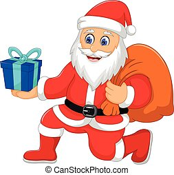 cute santa claus cartoon holding a gift