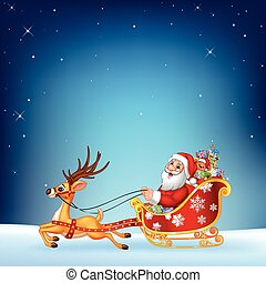 Cute Santa clause in his Christmas - Vector illustration of...
