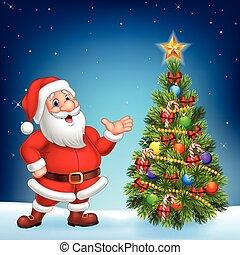 Cute Santa presenting on a night