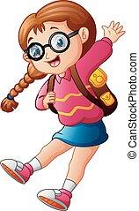 Cute school girl cartoon in glasses jumping