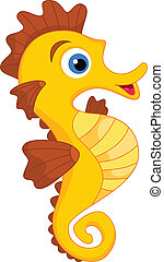 Cute Seahorse Cartoon - vector illustration of Cute Seahorse...