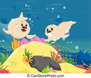 cute seal cartoon with a beautiful underwater world