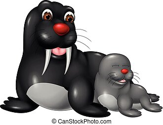 cute seals cartoon sleeping with smiling