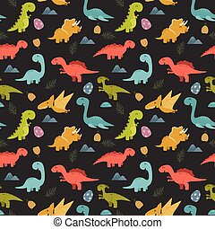 Cute seamless pattern with cartoon colorful dinosaurs -...