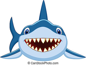 Cute shark cartoon - Vector illustration of Cute shark...
