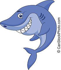Vector illustration of Cute shark cartoon