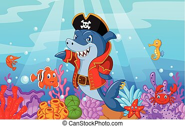 Cute shark pirate cartoon with coll - Vector illustration of...