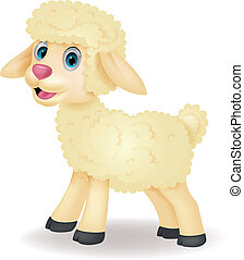 Vector illustration of Cute sheep cartoon