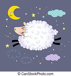 Vector illustration of cute sheep jumping in the night sky.