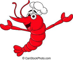 Cute shrimp cartoon chef waving