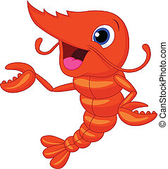 Cute shrimp cartoon presenting - Vector illustration of Cute...