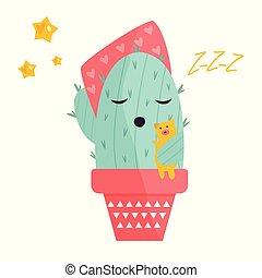 Vector illustration of cute sleeping cactus