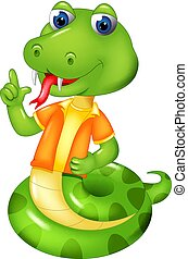 cute snake cartoon posing with laughing and pointing