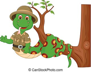 cute snake cartoon twist on tree with smile and waving