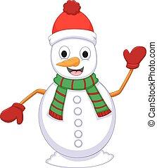cute snowman cartoon posing