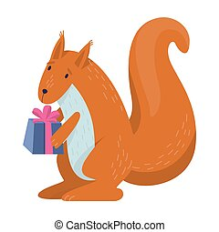 Vector illustration of cute squirel holding a gift box.