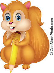 Cute squirrel cartoon holding penci