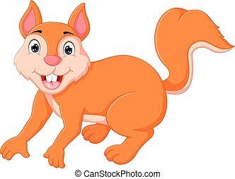 cute squirrel cartoon posing with smiling