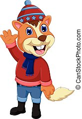 cute squirrel cartoon waving