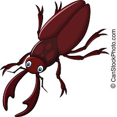 vector illustration of cute stag beetle cartoon posing