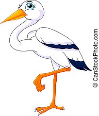 cute stork cartoon - vector illustration of cute stork...