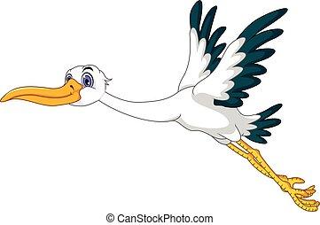 cute stork cartoon flying