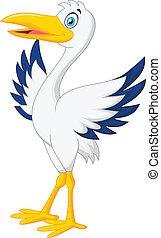 Cute stork cartoon posing