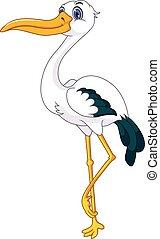 cute stork cartoon posing - vector illustration of cute ...