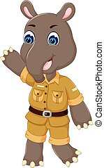 cute tapir cartoon standing with smile and waving