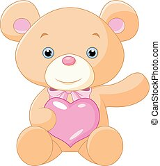 cute teddy bear holding heart