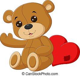 Cute teddy bear with red heart