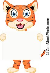 Cute tiger cartoon holding sign
