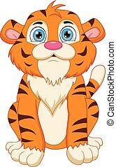 cute tiger cartoon posing sitting