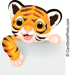 Cute tiger cartoon with blank sign